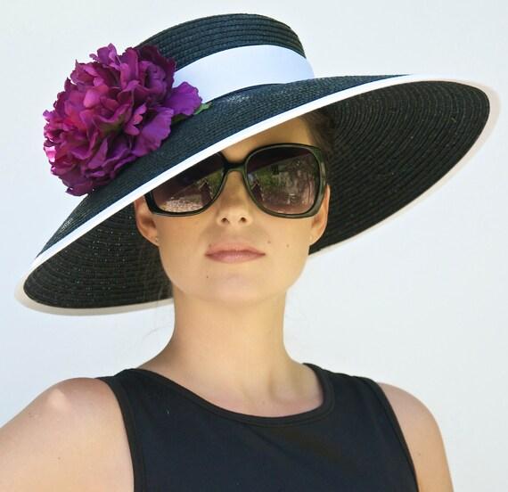 Wedding Hat, Black Wide Brim Hat. Derby Hat, Audrey Hepburn Hat. Church Hat, Formal Hat, Black and White hat, Ascot race hat, Dressy hat