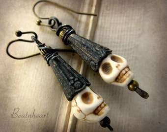 Wee lads skull earrings Halloween rustic primitive jewelry