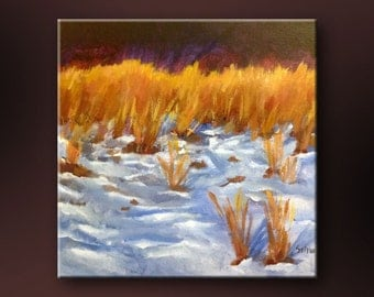 """Original Acrylic Abstract Floral  painting- Iowa Winter 2- 12"""" x 12"""""""