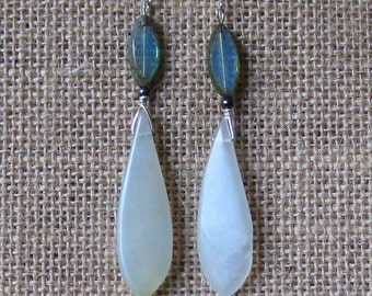 Clear Blue Earrings with Ocean Blue Ovals