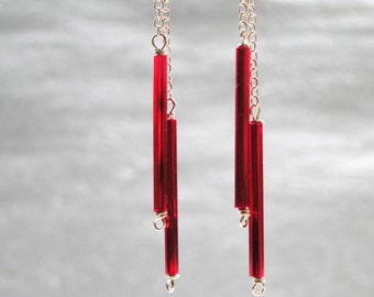14k Gold Filled Dangle Earrings,Drop Earrings Gold Chain Dangle Earrings, Red Glass Drop Earrings, Accessories, Gift Box