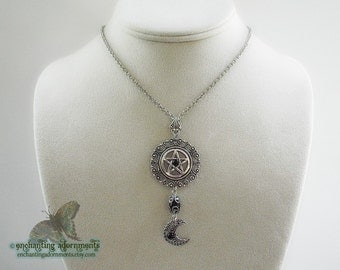 Wiccan Priestess Aged Silver and Black Onyx Pentagram and Crescent Moon Necklace Pendant