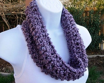 SUMMER COWL SCARF, Light Purple & Violet, Small Short Infinity Loop, Crochet Knit, Soft Lightweight Neck Warmer..Large Size Available