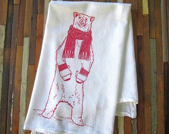 Christmas Tea Towel - Screen Printed Flour Sack Towel - Soft and Absorbent Kitchen Towel - Polar Bear - Merry Christmas Decor