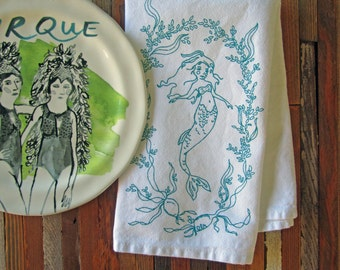 Cloth Napkins - Eco Friendly Dinner Napkins - Screen Printed Cloth Napkins - Reusable Cotton Cloth Napkins - Mermaid - Seaweed - Nautical