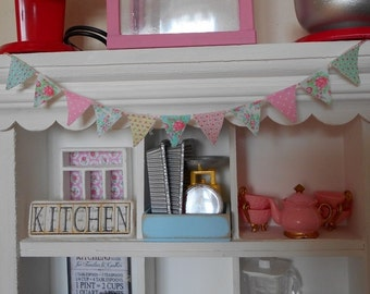 Cath Kidston Fabric BUNTING FLAGS BANNER - 1:12 Scale - Dollhouse Miniature