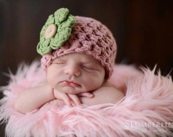 SET Pink Cotton Baby Hat and Mongolian Faux Fur Posing Rug