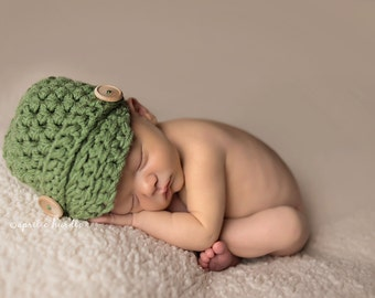 Sage Green Newsboy Hat Newborn Baby