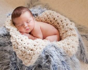 Chunky Cream Newborn Baby Blanket Photo Prop