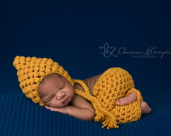 SET Mustard Yellow Puff Bonnet and Pants Newborn Photography Props