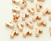 IN-277-RG / 2 Pcs - Initial Tiny Pendant, Alphabet, Lower Case, Small Letter, r, Rose Gold Plated over Brass / 5mm x 6mm