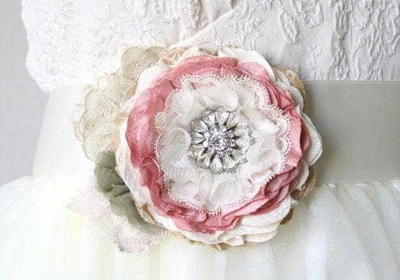 Pink Wedding Dress Sash : Pink wedding dress sash with rhinestone brooch floral bridal