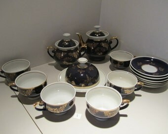 Gorgeous antique porcelain china service set for 6 from soviet union USSR (CCCP)