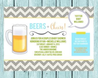 Couples Baby Shower Invitation - Beers + Cheers - Beer Baby Shower - Digital File