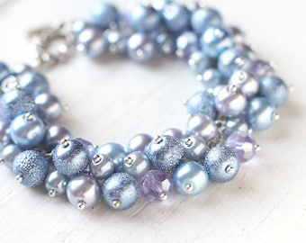 Something Blue, Periwinkle Blue Pearl Cluster Bracelet - Pastel Bridesmaids Jewelry for Spring Wedding - Limited Quantity!