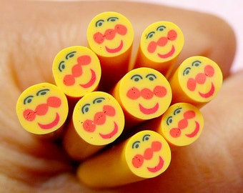 Yellow Smiley Polymer Clay Cane Kawaii Fimo Cane Nail Art Nail Deco Nail Decoration Scrapbooking CE058
