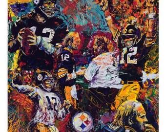 Pittsburgh Steelers Art, Terry Bradshaw, Sports art , Football Print by Johno