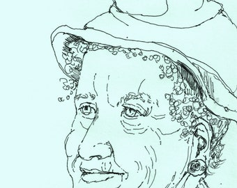 Crazy Hat Day Art Print Portrait On Pastel Blue, pen drawing PRINT of my original drawing,8X10 ,whimsical,sketched portrait,woman's face