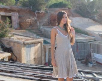 Short Natural Linen Dress / White Edging / Stone Sand / Summer Dress / Pure Linen / Crinkled Linen / Boho Beach Dress / Hand Made