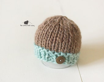 Little Knit Two Tone Beanie for Baby in Surf and Bark, Adorable Photography Prop and Ready to Ship