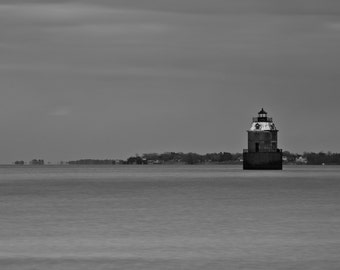 Maryland Art, Sandy Point Lighthouse, Black and White Fine Art Photography, Aluminum Print, Ready to Hang Art