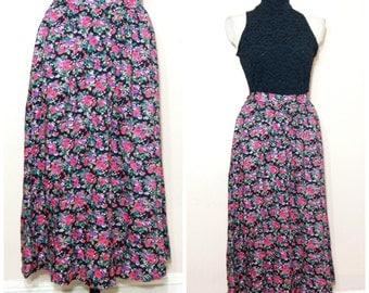 90s Grunge Floral Maxi Skirt Medium Pink Black Ditsy Floral Print Hipster Boho