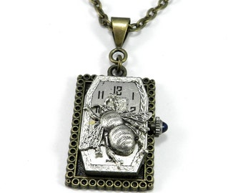 Steampunk Necklace - Brass Square Watch Movement Victorian Silver Bee Necklace, Steampunk Jewelry by Compass Rose Design