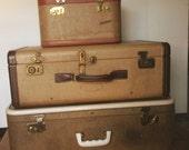 vintage 1940's Lady Baltimore brown tweed suitcase