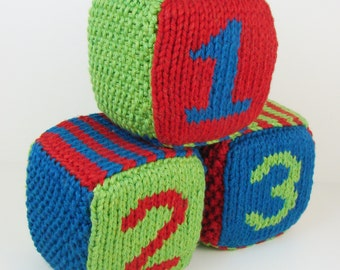 Set of Three Knitted Blocks- Blue, Red and Green
