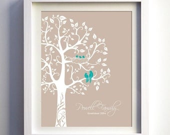Personalized Family Tree Gift with love birds and babies, Paper Anniversary Gift, Baby Shower Gift, custom gift for wife art