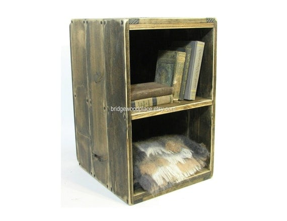 Unavailable listing on etsy for Wooden crate bedside table
