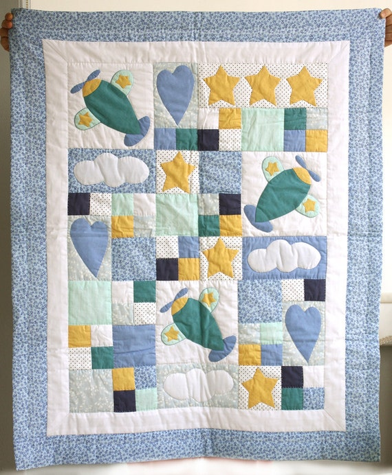 Baby boy quilt patchwork blanket hand applique by for Floor quilt for babies