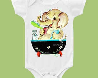Bath Time, Elephant One Piece, Baby clothes, baby showergift, Toddler TShirt, cute baby elephant by ChiTownBoutique.etsy