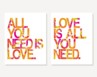 Beatles All You Need Is Love 2 Piece Art Set of Two Prints, Song Lyrics Art Colorful Words & Letters Posters, Anniversary Valentine Gift