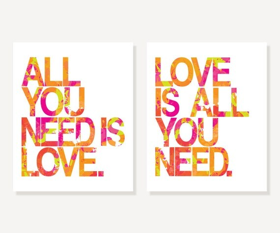 Beatles Art Prints - All You Need Is Love (Typography Art) - Pink Green Orange