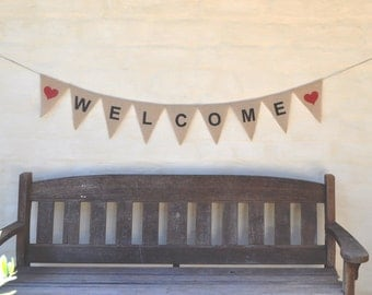WELCOME Hessian Burlap Rustic Wedding engagement Celebration Party Banner Bunting Decoration photo prop rustic country birthday bridal