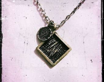 Rustic Brass Necklace Square Coin Oxidized Mens Womens