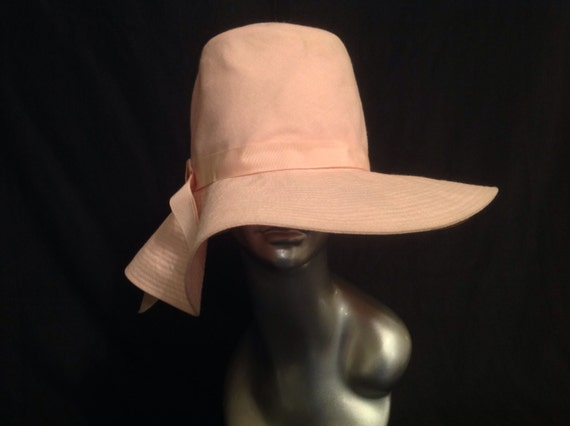 Vintage Hat Summer Pink Tall Crown With Large Brim Floppy Style Marshall Field Company USA DISCOUNTED
