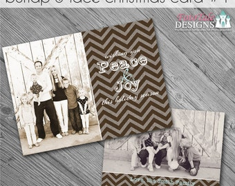 INSTANT DOWNLOAD - Burlap and Lace Christmas Card No. 1 - 5x7 photo card templates for photographers on whcc specs
