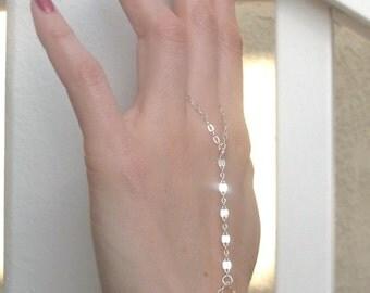 Sterling Silver Hand Chain, dainty bracelet, handflower, hand jewelry, handchain, delicate boho bracelet, layering bracelet, slave bracelet,