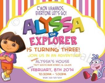 DIY Dora birthday invitation