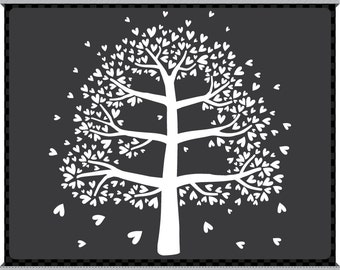 Digital Clip Art - The Family Tree - Six Branches - Instant Download - Heart Leaves