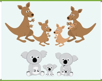 Instant Download - Australian Animals - Kangaroo and Koala Family - Digital Clip Art