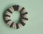 NEW Knitted cotton bracelet in black and sand classic modern style