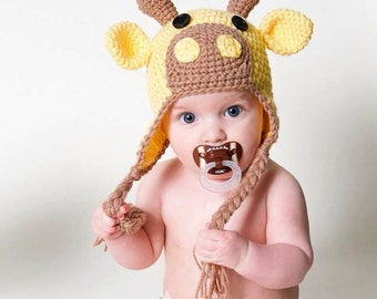 Giraffe Hat for Kids, Crochet Giraffe Ear Flap Hat, Animal Hat