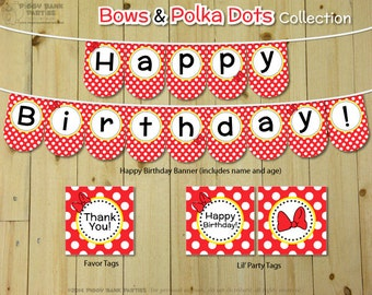 Bows & Polka Dots Collection - Red and Yellow : DIY Printable Minnie Mouse Inspired Birthday Party Decoration | Minnie Birthday Banner
