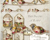 Birds on a Wire Digital Clip Art Images Scrapbooking Borders n Tags AJR-357T-1 Collage Sheet tattered vintage French Market Label fruit