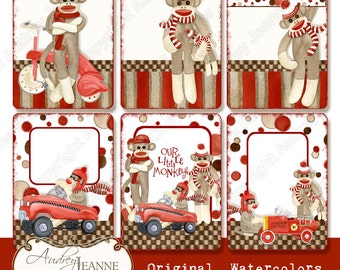 Digital Collage Sheet atc Card Retro Sock Monkey AJR-148A Fireman firetruck w dalmatian dog, pedal car n red wagon little boy baby shower