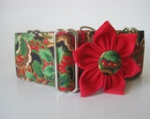 Christmas Martingale Collar with Matching Flower, Martingale Dog Collar, 2 inch Martingale Collar, Christmas Dog Collar, Paisley Dog Collar