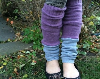 Eco Leg Warmers, sweater knit leg warmers, hippie leg warmers, boho, reversible leg warmers, patchwork leg warmers, lilac and gray, by Zasr